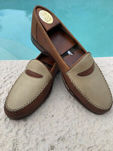 Cole Haan Bragano Brown Beige Leather Perforated Loafer Dress Shoes Mens Sz 8.5M