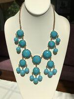 Vintage Turquoise Blue Faceted Cabochon Gold Statement Necklace Bohemian