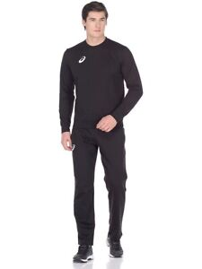 ASICS Men's Fleece Suit SET Top Bottoms Cotton Sporttrainingsanzug - Black
