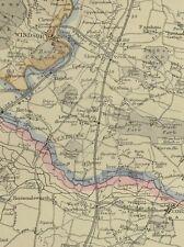 1864 ORIGINAL RAILWAY MAP GREAT WESTERN RAILWAY LONDON TO READING OXFORD WINDSOR