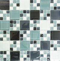 Glasmosaik Multiformat grau schwarz matt Fliesenspiegel 78-0204_f   10 Matten