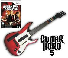 NEW Nintendo Wii Guitar Hero 5 Wireless Guitar & Green Day Rock Band Game Bundle