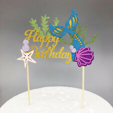 Mermaid cake topper Happy Birthday - Sea Shell Fish Tail  Beach Cake Topper