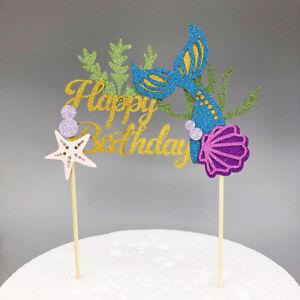 Mermaid cake topper Happy Birthday - Sea Shell Fish Tail  Beach Cake Topper