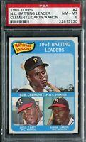 1965 Topps #2 N.L Batt Ldrs. Clemente/Carty/Aaron PSA 8 NM-MT