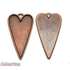 2 Heart Cabochon Bezels - Heart Charms - Heart Cabochon Settings - LF NF CF
