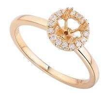 18K Rose Gold 0.13Ct Solitaire Diamond Ring With Halo (Sizable)