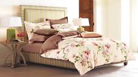 Lily Blossom 100% Cotton Bedding Set: 1 Duvet Cover 2 Pillow Shams  Queen/King