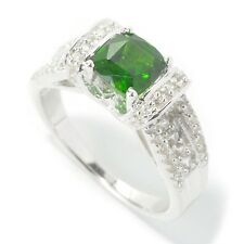 Sterling Silver 1.55ctw Chrome Diopside Solitaire w/ accent Ring, Size 7