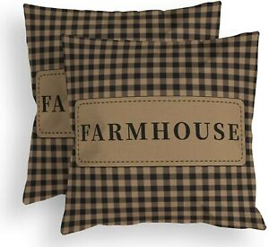 """New Primitive Country """"Farmhouse"""" GINGHAM CHECK Americana pillow cover set of 2"""