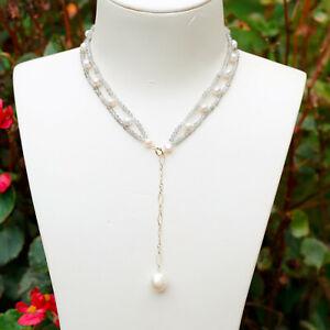 170#Luxury lace design Labradorite necklace/choker 33+7cm W/pearl Pendant 14KGF