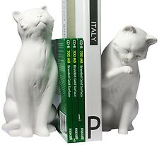 Cat Bookend Set White - Figurine Sculpture Statue - Home Decor