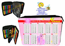 trousse à crayons garnie table multiplication personnalisable prénom réf 116