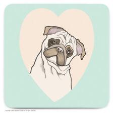 Coaster Drinks Mat Cute Pug Dog Lovers Novelty Cheap Present Birthday Gift