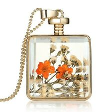 Handmade Natural Dried Flower Glass Pendant Chain Necklace Gold orange