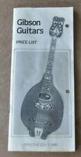 Gibson guitars  vintage catalog booklet brochure.1980 price list.  Good