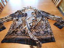 Dressbarn Womens Brown & Gold Print Open Front Stretch Jacket sz 18/20