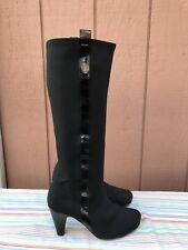 EUC TARYN ROSE Black Stretch & Patent Leather Knee High Boots Women's Size US 7