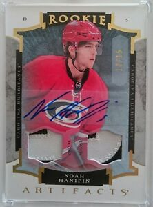 15-16 UD Artifacts Rookie Gold Dual Patch Autograph Noah Hanifin /15 Hurricanes