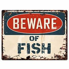 PP0967 Beware of FISH Plate Rustic Chic Sign Home Store Wall Decor Gift