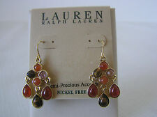 Lauren Ralph Lauren Gold-Tone Multi-Stone Semi-Precious Chandelier Earrings