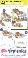 Tryfolds Lake House Set Unmounted Rubber Stamps with Cushion Art Impression NEW