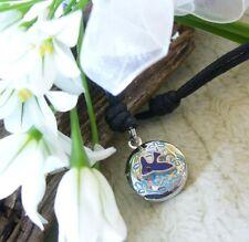 Bluebird Blue Bird Tiny Round Locket Pendant Choker Adjustable Cord Necklace