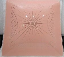 "VINTAGE PINK Glass Ceiling Light Square Shade<>12"" * 12"""