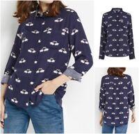 NEW Ex OASIS Ladies Blue Kissing Swan Boyfriend Shirt Blouse Size 8 - 18