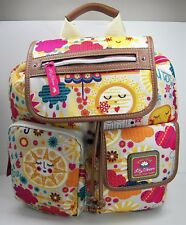 Lily Bloom Spring Showers Riley Backpack Purse KARMA Fabric Brown Faux Leather