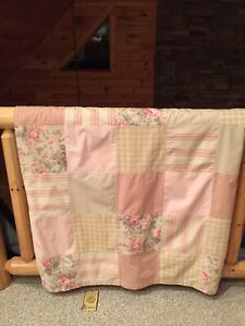 Nautica PINK SANDS Pink Green Floral Patchwork Cotton Quilt  Shower Curtain