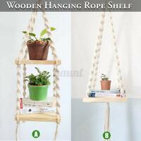 Bohemian Wooden Handmade Macrame Wall Hanging Rope Shelf Floating Plant