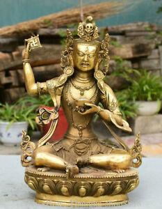"12"" Tibetan Tantra Brass Buddhism Avalokitesvara White Tara Goddess Sculpture"