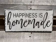 farmhouse sign wood HAPPINESS IS HOMEMADE rustic wooden decor family happy sign