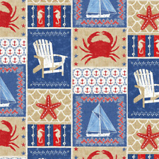 50cm x 112cm Shoreline Starfish Crab Boat Nautical Windham Fabrics 100% Cotton