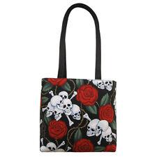 Roses & Skulls / Skeleton Small Tote Bag Handbag - 100% Hand Made in the USA