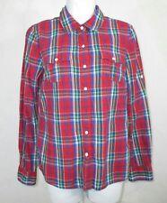 Tommy Hilfiger Womens Juniors Plaid Button Down Shirt Medium Long Sleeve