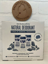 3-Pack Schmidt's Natural Deodorant Charcoal + Magnesium 3.25 oz New With BOX