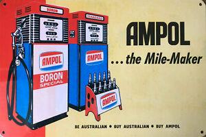 AMPOL Rustic Look Vintage Tin Metal Sign Man Cave, Shed-Garage & Bar Sign