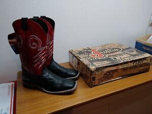 New Mens 12 D Justin Bent Rail Black EXOTIC WILDEBEEST Square Toe Cowboy Boots