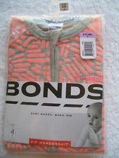 BNIP Baby Girl's Bonds Grey & Orange Zip Wondersuit/Coverall/Sleeper Size 0