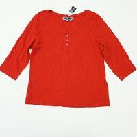 Karen Scott Womens Top 3/4 Sleeve V Neck Henley Knit Top Shirt Red 2X