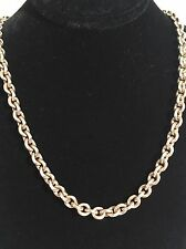 """Sterling Silver Rolo Chain Necklace Signed .999 USA & a Tulip 20.5"""" 3.5m"""