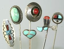 VINTAGE LOT OF 6 STERLING SILVER CORAL TURQUOISE STICKPINS