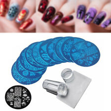 10Pcs Stamping Plate + Clear Silicone Stamper +Scraper Nail Art Image Stamp Tool