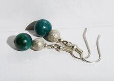 Handcrafted Green Azurite Genuine Semi-precious Stone Gemstone Earrings Gift