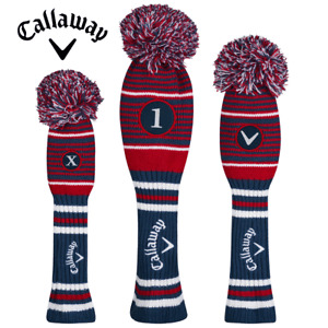 CALLAWAY POM POM NAVY DRIVER, FAIRWAY & HYBRID GOLF HEADCOVERS BUY 2 GET 10% OFF