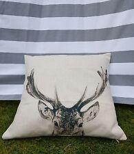 Deer Cushion Cover. Reindeer, Christmas, Cotton Canvas, Designer, Natural