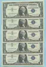 FIVE 1957 B UNC CRISP ONE DOLLAR BILL STAR NOTES *419*422*306*415  1 DOLLAR