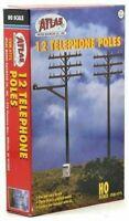 ATLAS 775 HO Scale 12 Telephone Poles Brown Model Railroad  Boxed Set FREE SHIP